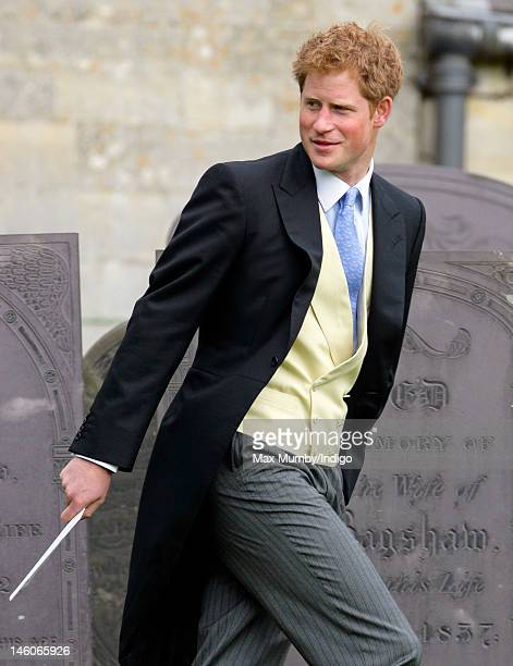 Prince Harry attends the wedding of Emily McCorquodale and James Hutt at The Church of St Andrew and St Mary Stoke Rochford on June 9 2012 in...