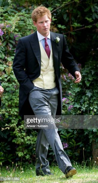 Prince Harry attends the wedding of his former Equerry Mark Dyer to Amanda Kline of Texas at St Edmund's Church Crickhowell on July 3 2010 in...