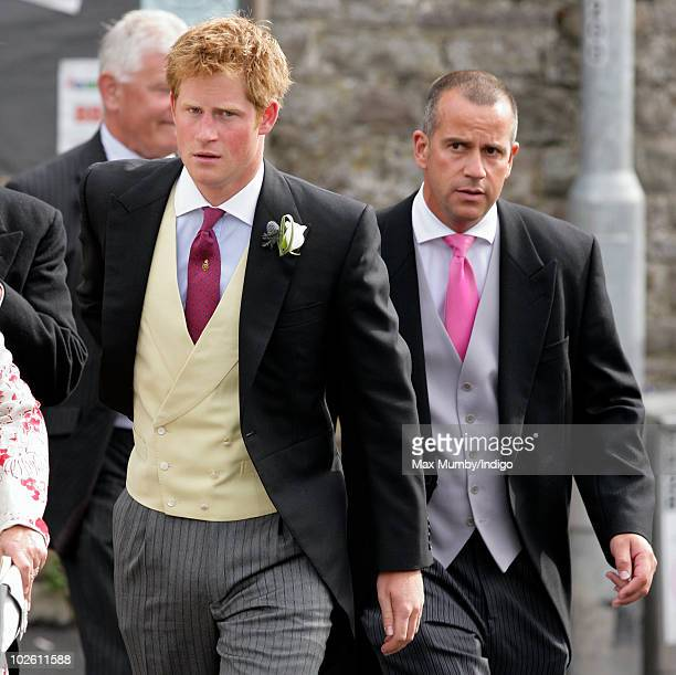 HRH Prince Harry attends the wedding of Mark Dyer and Amanda Kline at St Edmund's Church on July 3 2010 in Abergavenny Wales