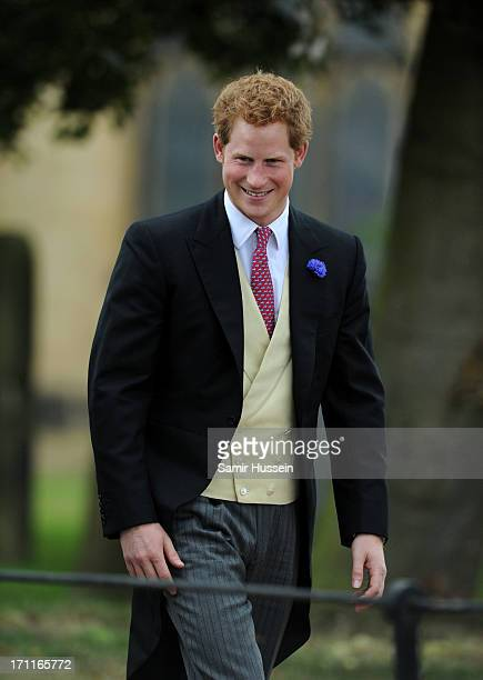 Prince Harry attends the wedding of Melissa Percy and Thomas Staubenzee at Alnwick Castle on June 22 2013 in Alnwick England