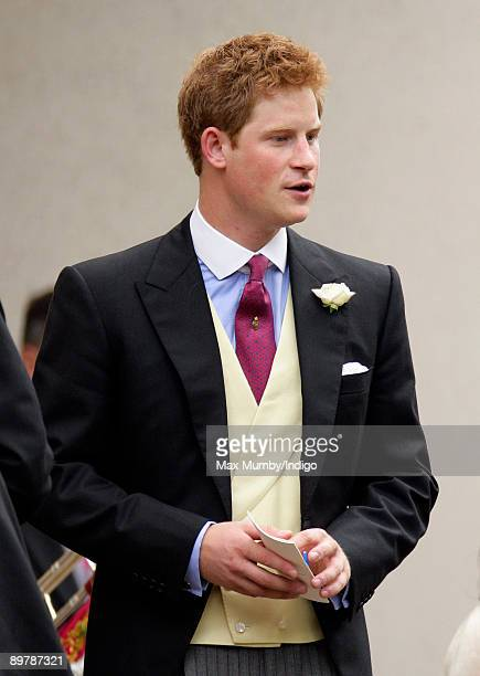 Prince Harry attends the wedding of Nicholas van Cutsem and Alice Hadden-Paton at The Guards Chapel, Wellington Barracks on August 14, 2009 in...