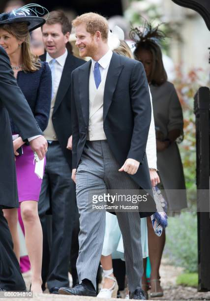 Prince Harry attends the wedding Of Pippa Middleton and James Matthews at St Mark's Church on May 20 2017 in Englefield Green England