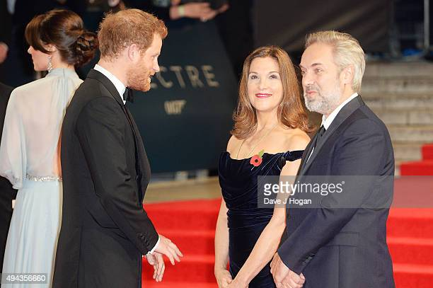 Prince Harry Barbara Broccoli and Director Sam Mendes attend the Royal World Premiere of 'Spectre' at Royal Albert Hall on October 26 2015 in London...