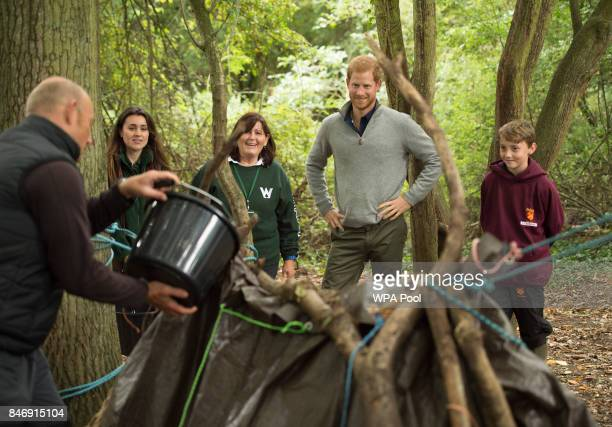 Prince Harry builds shelters with Felstead Prep School year 7 pupils as he visits The Chatham Green Project, a conservation and educational...
