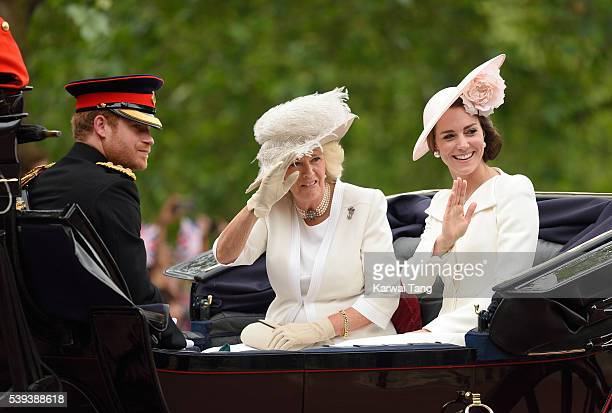Prince Harry Camilla Duchess of Cornwall and Catherine Duchess of Cambridge attend the Trooping the Colour this year marking the Queen's official...