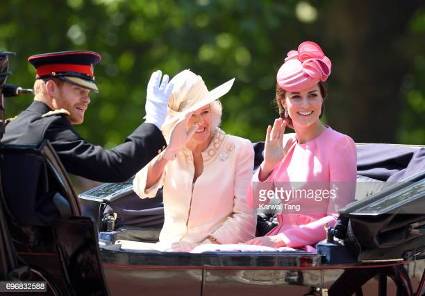 Prince Harry Camilla Duchess of Cornwall and Catherine Duchess of Cambridge attend the annual Trooping The Colour parade at the Mall on June 17 2017...