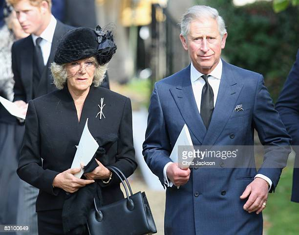 Prince Harry Camilla Duchess of Cornwall and Prince Charles Prince of Wales attend a thanksgiving service for Prince Harry's godfather Gerald Ward at...