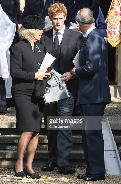 Prince Harry Camilla Duchess of Cornwall and Prince Charles Prince of Wales attend a thanksgiving service for Gerald Ward godfather of Prince Harry...