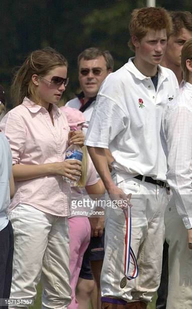 Prince Harry Captains The English School Polo Team Against France In Warwickshire Watched By The Prince Of Wales Tiggy Pettifer Her Niece Tamara Drax