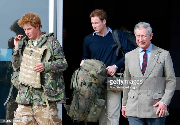 Prince Harry carrying his rucksack and wearing a flak jacket leaves the terminal building at RAF Brize Norton after returning from Afghanistan where...