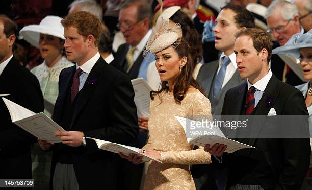 Prince Harry Catherine Duchess of Cambridge and Prince William Duke of Cambridge during a service of thanksgiving to mark the Queen's Diamond Jubilee...