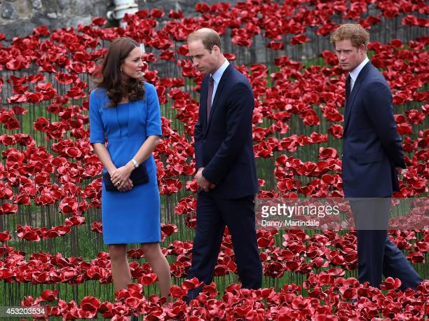 Prince Harry Catherine Duchess of Cambridge and Prince William Duke of Cambridge attend the ceramic poppy field of remembrance at Tower of London on...