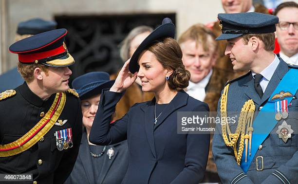 Prince Harry Catherine Duchess of Cambridge and Prince William Duke of Cambridge attend a Service of Commemoration for troops who were stationed in...