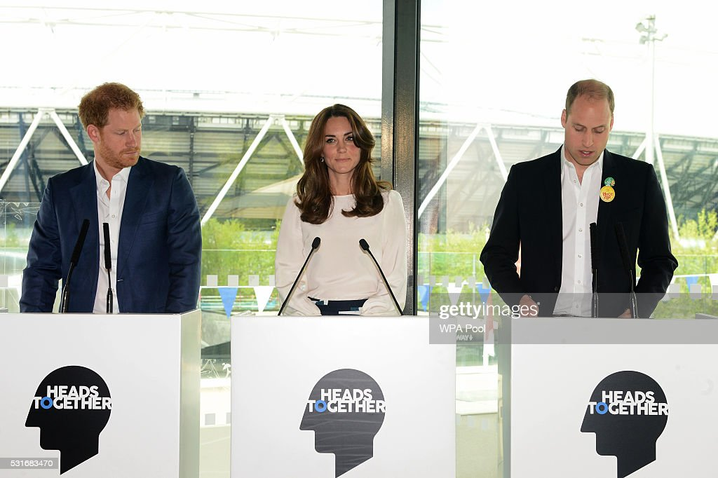 The Duke And Duchess Of Cambridge And Prince Harry Attend The Launch Of Heads Together Campaign : News Photo