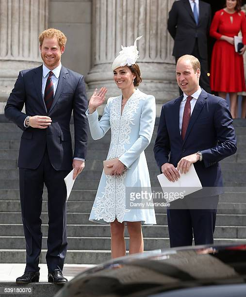 Prince Harry, Catherine, Duchess of Cambridge and Prince William, Duke of Cambridge attend a National Service of Thanksgiving as part of the 90th...