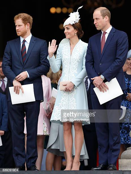 Prince Harry Catherine Duchess of Cambridge and Prince William Duke of Cambridge attend a national service of thanksgiving to mark Queen Elizabeth...