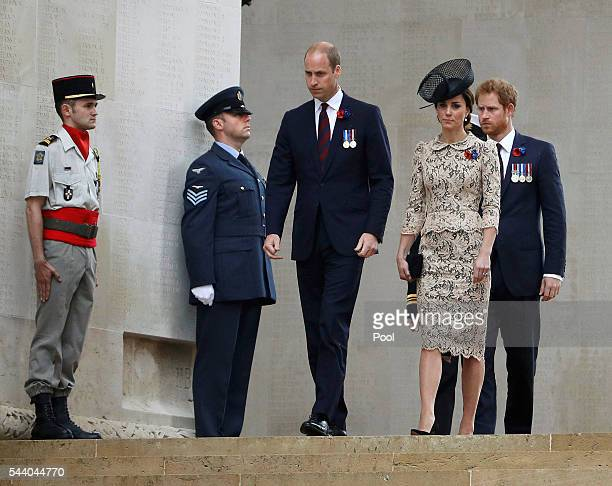 Prince Harry Catherine Duchess of Cambridge and Prince William Duke of Cambridge walk during the 100th anniversary of the beginning of the Battle of...
