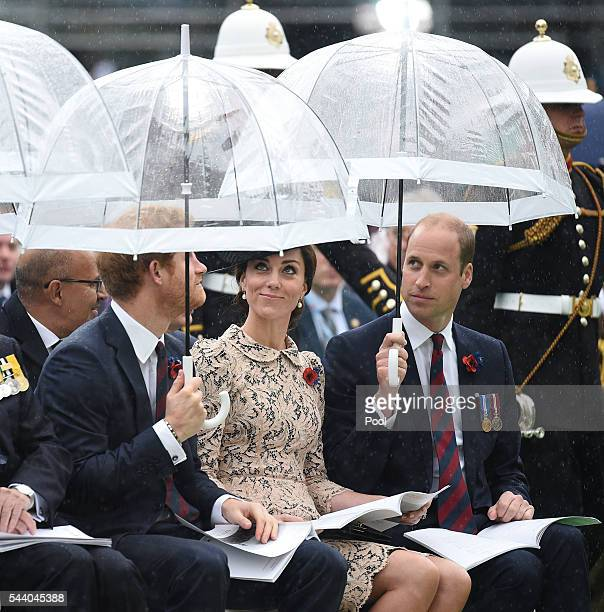 Prince Harry Catherine Duchess of Cambridge and Prince William Duke of Cambridge during the Commemoration of the Centenary of the Battle of the Somme...