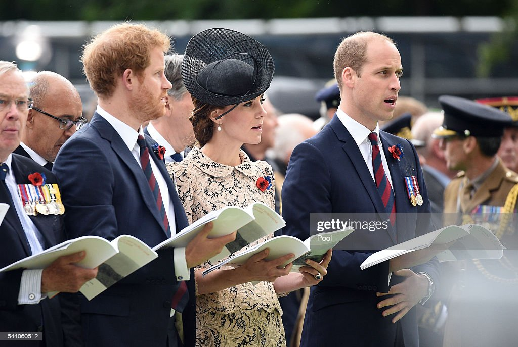 Prince Harry, Catherine, Duchess of Cambridge and Prince William, Duke of Cambridge during the Commemoration of the Centenary of the Battle of the Somme at the Commonwealth War Graves Commission Thiepval Memorial on July 1, 2016 in Thiepval, France. The event is part of the Commemoration of the Centenary of the Battle of the Somme at the Commonwealth War Graves Commission Thiepval Memorial in Thiepval, France, where 70,000 British and Commonwealth soldiers with no known grave are commemorated.