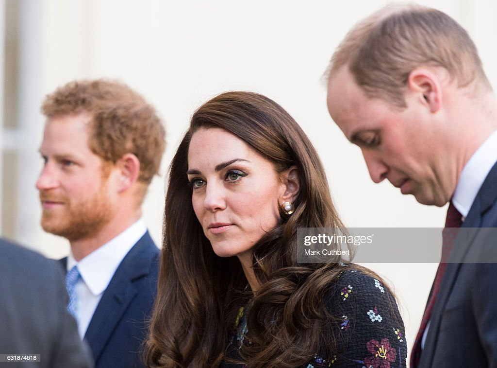 Prince Harry, Catherine, Duchess of Cambridge and Prince William, Duke of Cambridge attend a briefing to announce plans for Heads Together ahead of the 2017 Virgin Money London Marathon at ICA on January 17, 2017 in London, England. Heads Together, Charity of the Year 2017, is led by The Duke & Duchess of Cambridge and Prince Harry in partnership with leading mental health charities.
