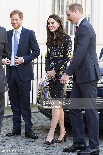 Prince Harry, Catherine, Duchess of Cambridge and Prince William, Duke of Cambridge attend a briefing to announce plans for Heads Together ahead of...