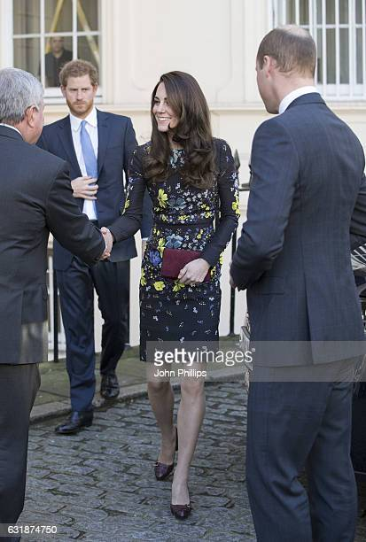 Prince Harry Catherine Duchess Of Cambridge and Prince William Duke of Cambridge arrive to a briefing to announce plans for Heads Together ahead of...