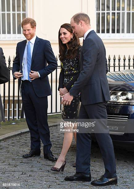 Prince Harry Catherine Duchess of Cambridge and Prince William Duke of Cambridge arrive for a briefing to announce plans for Heads Together ahead of...