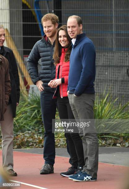 Prince Harry Catherine Duchess of Cambridge and Prince William Duke of Cambridge attend a training day for the Heads Together team for the London...