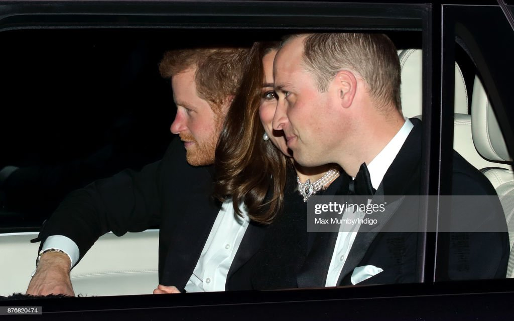 Prince Harry, Catherine, Duchess of Cambridge and Prince William, Duke of Cambridge arrive at Windsor Castle to attend Queen Elizabeth II's and Prince Philip, Duke of Edinburgh's 70th wedding anniversary dinner on November 20, 2017 in Windsor, England.