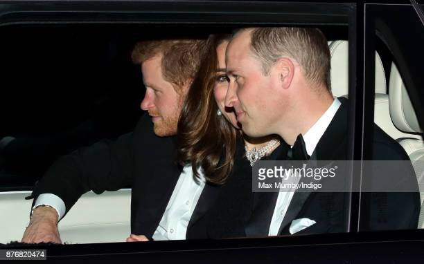 Prince Harry Catherine Duchess of Cambridge and Prince William Duke of Cambridge arrive at Windsor Castle to attend Queen Elizabeth II's and Prince...