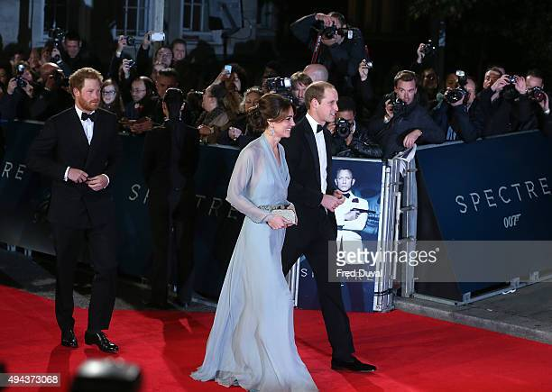 Prince Harry Catherine Duchess of Cambridge and Prince Williams Duke of Cambridge attend the Royal World Premiere of 'Spectre' at Royal Albert Hall...
