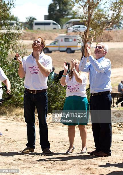 Prince Harry, Cathy Ferreira and Phillip Green during the opening of Mamahato Childrens centre for orphans and families affected by HIV and AIDS on...