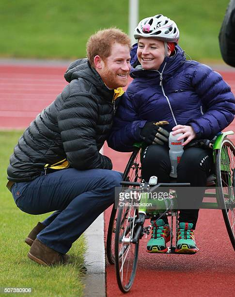 Prince Harry chats to Anna Pollack a competitor at the Invictus Games Orlando British team trials at the University of Bath on January 29 2016 in...