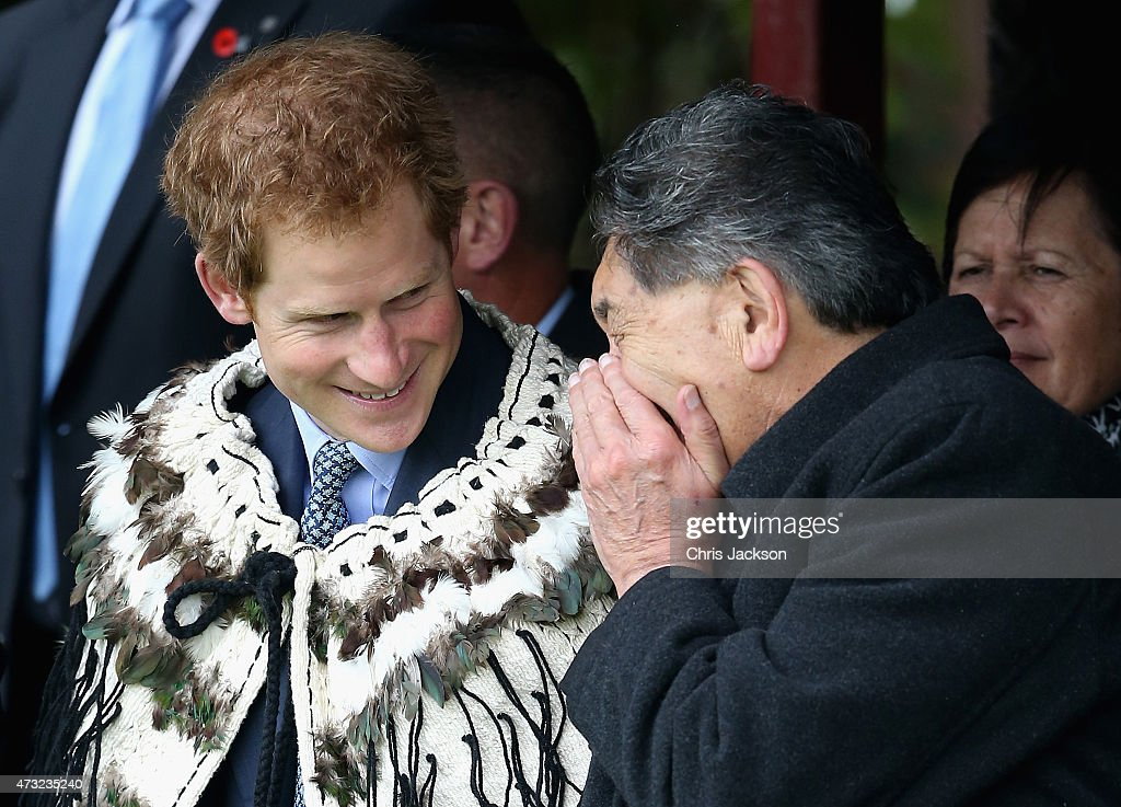 Prince Harry chats to Lewis Moreau at a powhiri at Putiki Marae (official Welcome) on May 14, 2015 in Wanganui, New Zealand. Prince Harry is in New Zealand from May 9 through to May 16 attending events in Wellington, Invercargill, Stewart Island, Christchurch, Linton, Whanganui and Auckland.