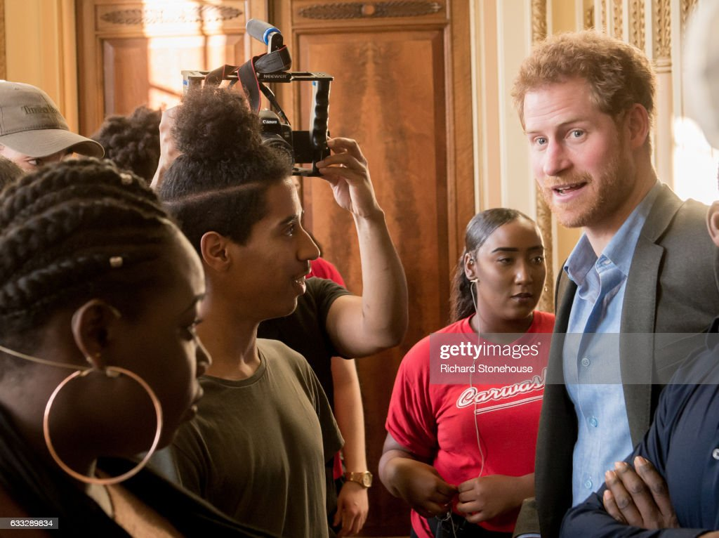 Prince Harry Chats with Full Effect Performers during an official visit to Full Effect & Coach Core on February 1, 2017 in Nottingham, England. Full Effect and Coach Core are projects supported by The Royal Foundation to improve opportunities for young people.