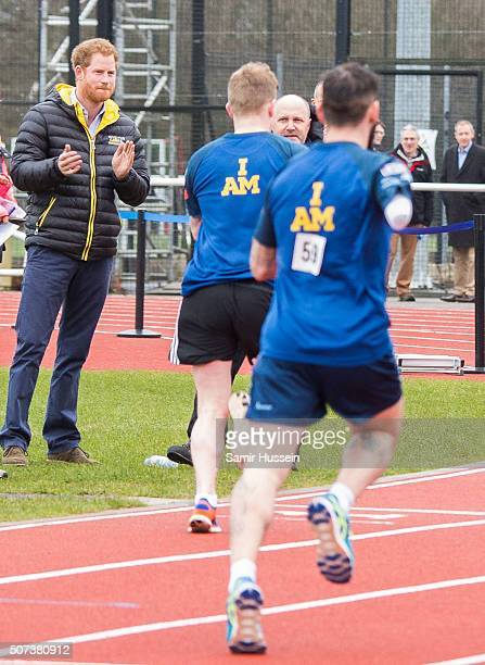 Prince Harry cheers on competitors as he attends the UK team trials for the Invictus Games Orlando 2016 at University of Bath on January 29 2016 in...