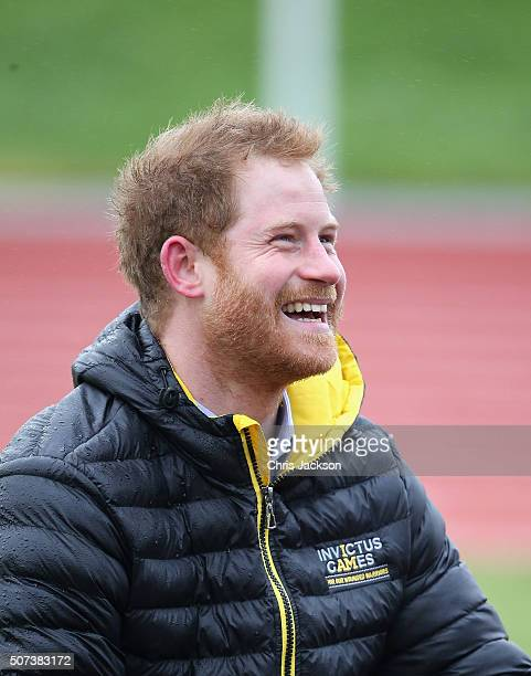 Prince Harry cheers on competitors at the Invictus Games Orlando British team trials at the University of Bath on January 29 2016 in Bath England