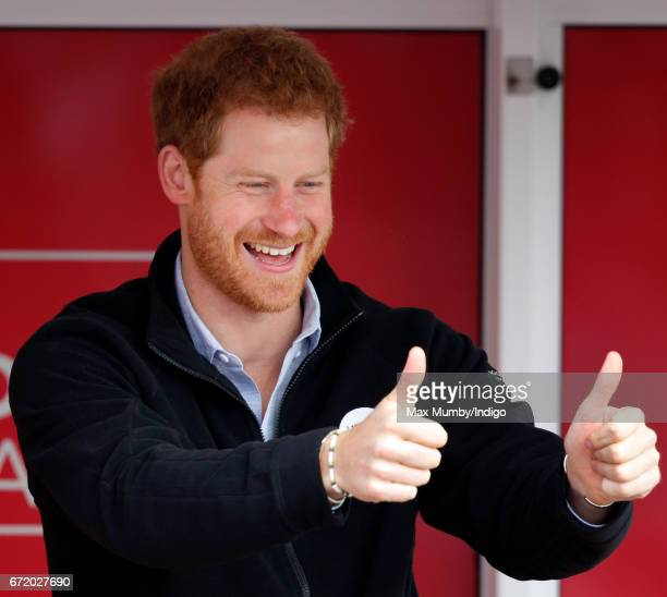 Prince Harry cheers on runners as he starts the 2017 Virgin Money London Marathon on April 23 2017 in London England The Heads Together mental heath...