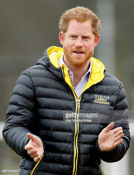 Prince Harry cheers on the competitors as he attends the UK team trials for the Invictus Games Orlando 2016 at the University of Bath on January 29...