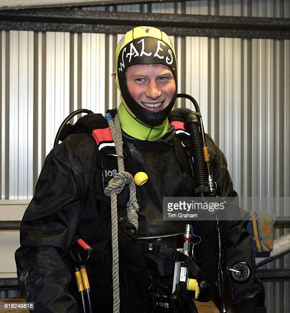 Prince Harry CommodoreinChief of small ships and diving visits the Royal Navy's fleet diving squadron at Horsea Island where he carried out some...