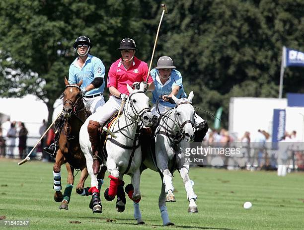 Prince Harry competes during The Cartier Cup between Prince of Wales' Team and Max Routledge from Hurlingham at the Guards Polo Club on 30 July 2006...