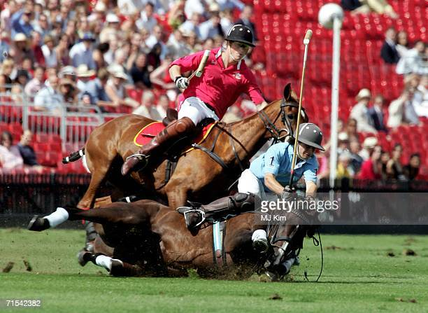 Prince Harry competes during The Cartier Cup between the Prince of Wales' Team and Max Routledge from Hurlingham Team at the Guards Polo Club on 30...