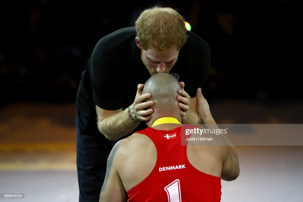 Prince Harry congratulates gold medalist Maurice Manuel #1 of Denmark after defeating Team United Kingdom in the Wheelchair Rugby Final Gold match during the Invictus Games 2017 at Mattamy Athletics Centre on September 28, 2017 in Toronto, Canada