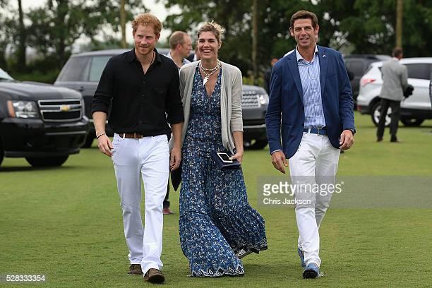 Prince Harry Delfina Blaquier and Royal Salute World Polo Ambassador Malcolm Borwick attend the Sentebale Royal Salute Polo Cup in Palm Beach at...