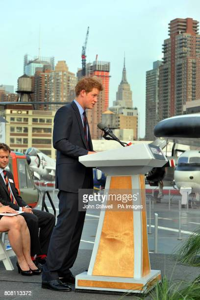 Prince Harry delivers a speech aboard the USS Intrepid an Aircraft carrier built in 1943 and now a museum in New York city USA