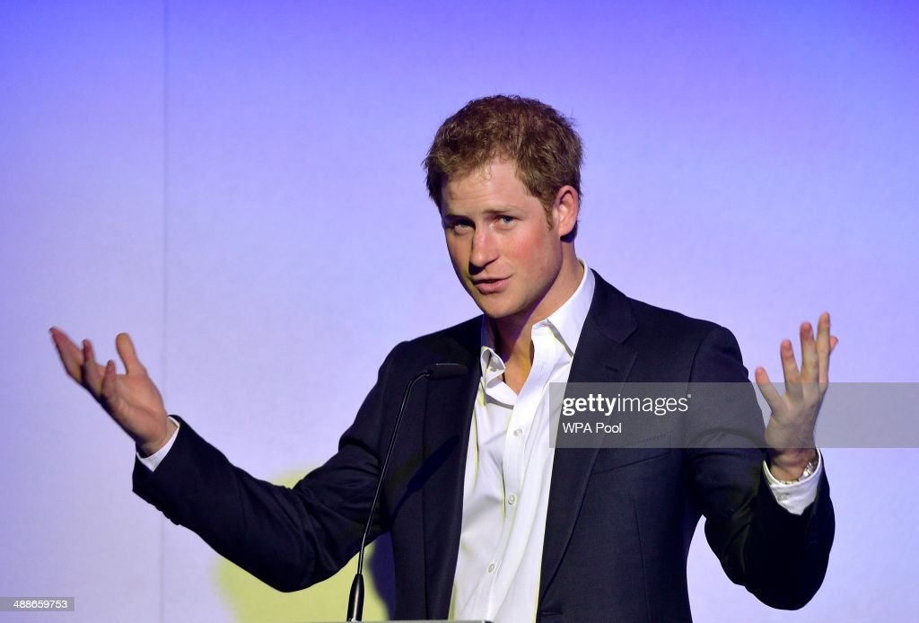 Prince Harry delivers a speech at the 'Sentebale Summer Party' at the Dorchester Hotel on May 7, 2014 in London, England.