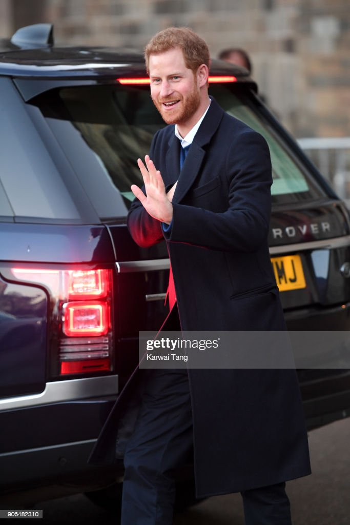 Prince Harry departs from a walkabout at Cardiff Castle on January 18, 2018 in Cardiff, Wales.