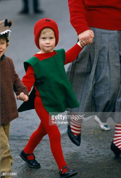 Prince Harry Dressed In A Red Goblin Costume Setting Off To Take Part In His Nursery School's Nativity Play