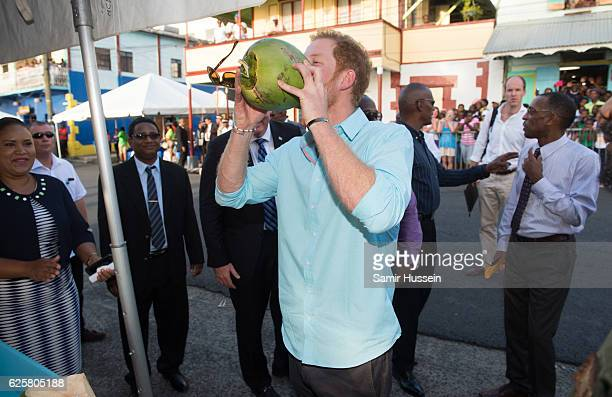 Prince Harry drinks from a coconut on the sixth day of an official visit on November 25 2016 in Soufriere Saint Lucia Prince Harry's visit to The...