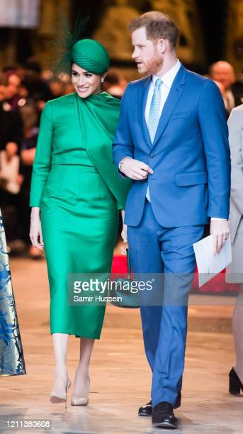 Prince Harry Duhcess of Sussex and Meghan Duchess of Sussex attend the Commonwealth Day Service 2020 on March 09 2020 in London England